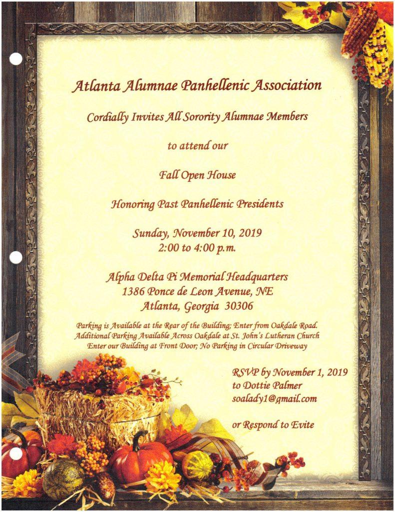 Fall Open House @ Alpha Delta Pi Memorial Headquarters | Atlanta | Georgia | United States