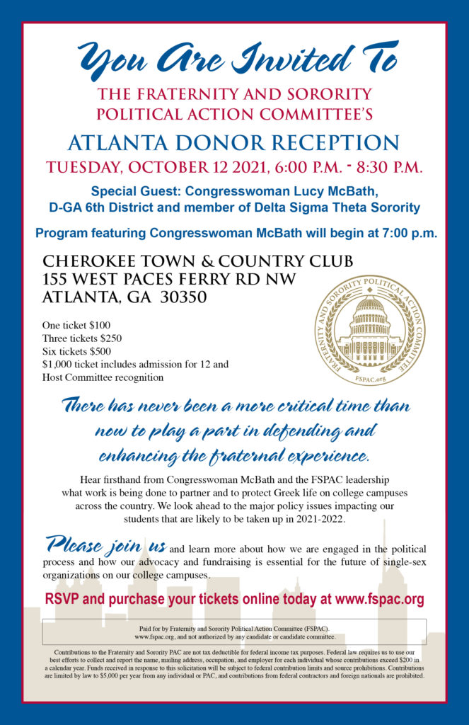Fraternity and Sorority Political Action Committee Donor Reception @ Cherokee Town & Country Club | Atlanta | Georgia | United States